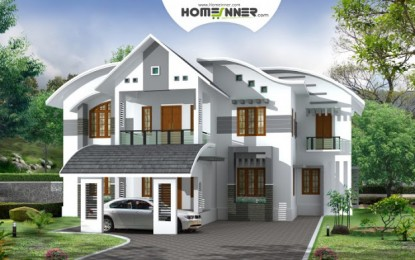 Moderne kerala Home Design 3828 Sq Ft 5 Bhk